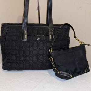 Coach Quilted Diaper Bag Tote Bag w/ BONUS BAG